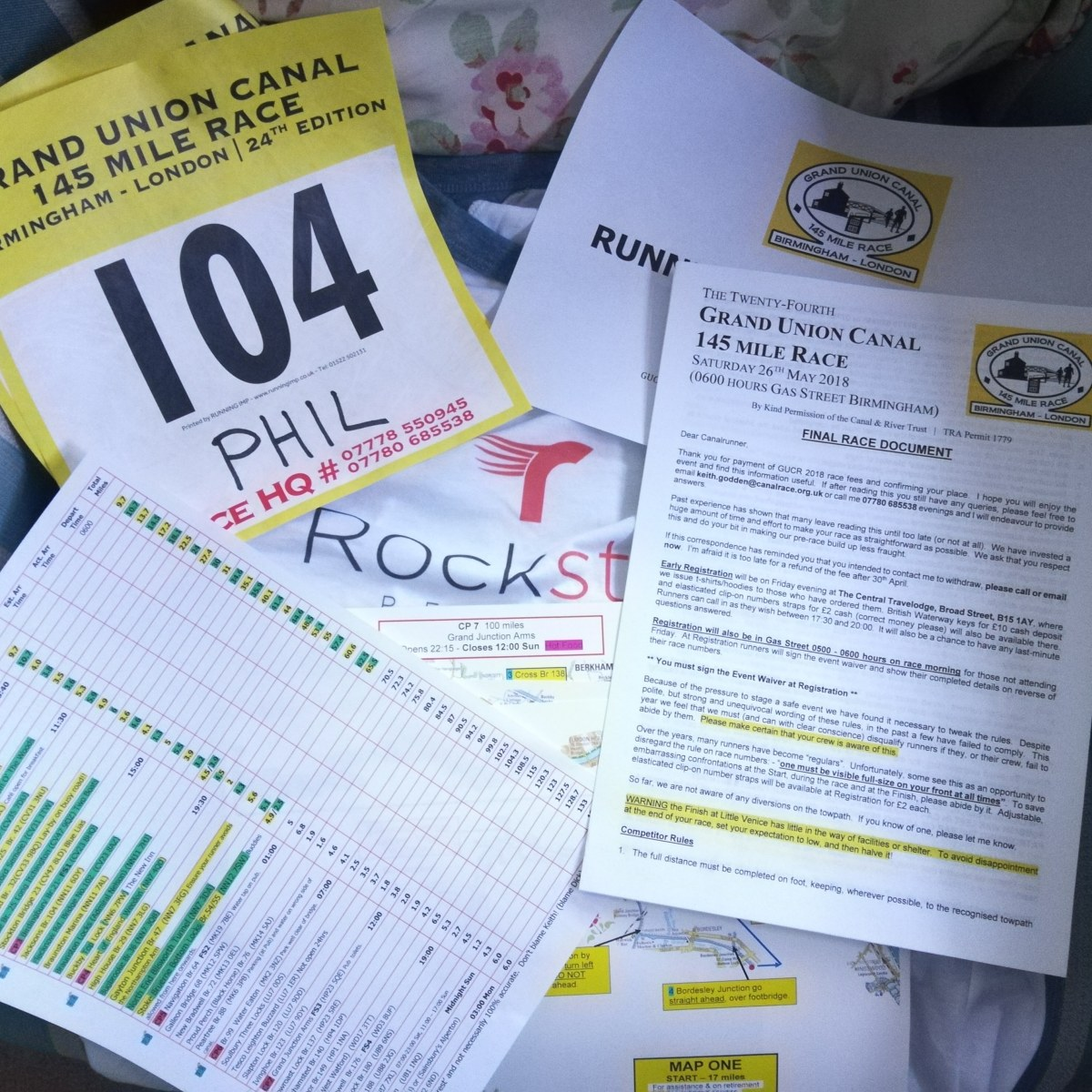 Prep for Grand Union Canal Race 2018